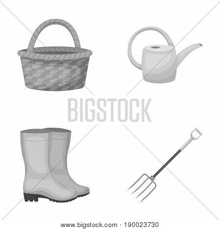 Basket wicker, watering can for irrigation, rubber boots, forks. Farm and gardening set collection icons in monochrome style vector symbol stock illustration .