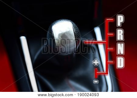 Gear stick for auto transmission for driving in car. automotive part concept. 3D illustration
