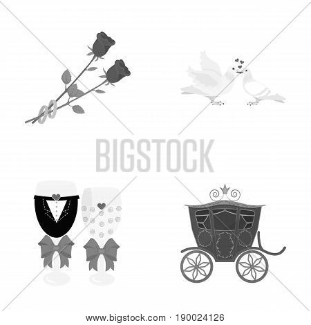 Two red roses with rings, pigeons kissing with hearts, wedding glasses with bows and champagne, a carriage for a festive ceremony. Wedding set collection icons in monochrome style vector symbol stock illustration .