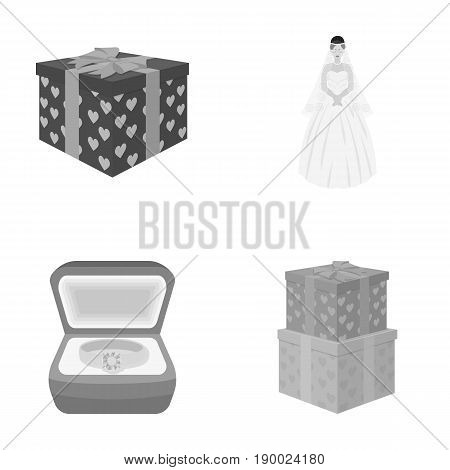 A box with a gift for a wedding, a bride in a veil and a dress, a ring in a diamond engagement ring with a diamond, boxes with gifts. Wedding set collection icons in monochrome style vector symbol stock illustration .