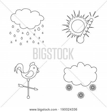 Rain, snow, heat, weathervane. The weather set collection icons in outline style vector symbol stock illustration .