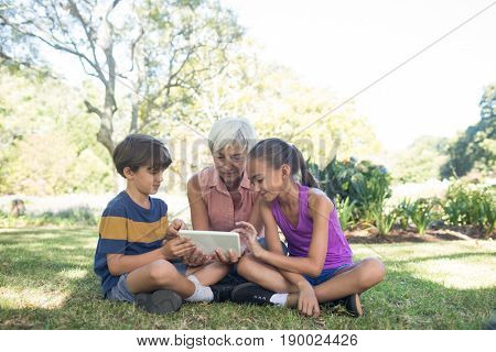 Grandmother and grand kids using digital tablet in the park on sunny day