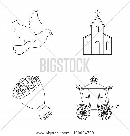 Pigeon, church, wedding bouquet, carriage. Wedding set collection icons in outline style vector symbol stock illustration .