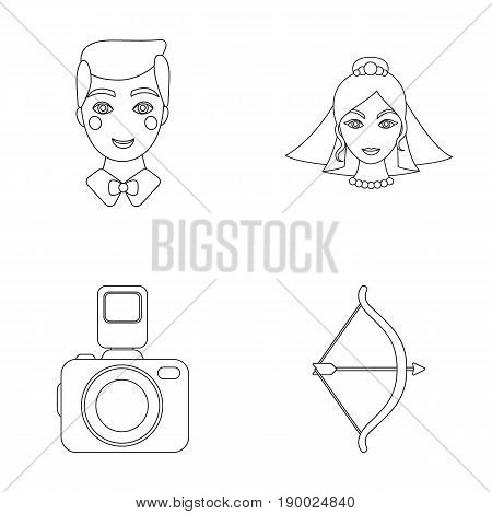 Groom, bride, photographing, arrow of the cupid. Wedding set collection icons in outline style vector symbol stock illustration .