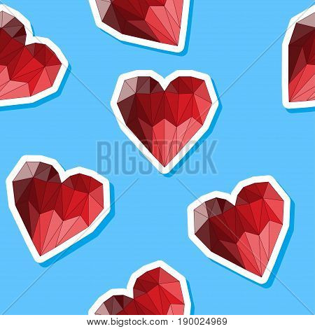 Polygonal Heart. Love, Wedding Or Valentines Day Seamless Background
