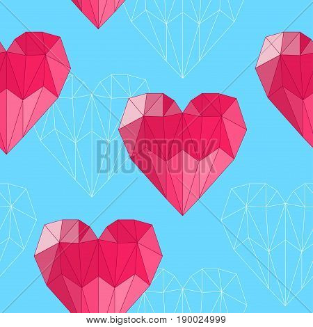 Polygonal Heart. Love, Wedding Or Valentines Day Seamless Background.