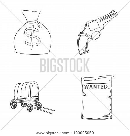 Bag with money, Colt, van, is being searched for. Wild West set collection icons in outline style vector symbol stock illustration .