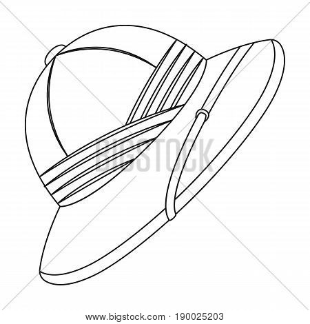 Cork hat from the sun.African safari single icon in outline style vector symbol stock illustration .