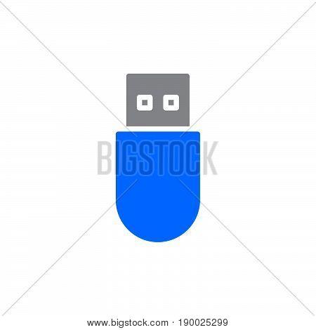 Usb stick colorful icon vector flat sign. Symbol logo illustration