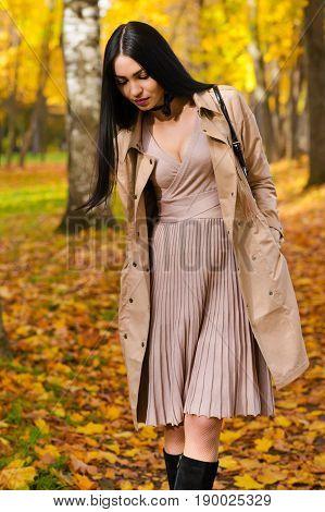 elegant woman walking in the autumn park