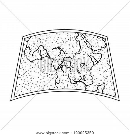 Map of mainland Africa.African safari single icon in outline style vector symbol stock illustration .