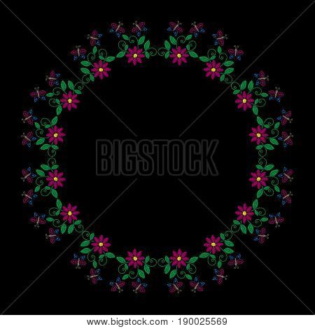 Embroidery stitches imitation round frame with folk flower butterfly and leaf. Floral wreath on black background. Embroidery flower vector.