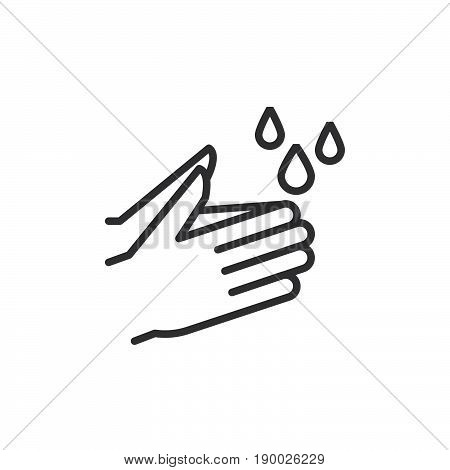 Wash hands line icon outline vector sign linear style pictogram isolated on white. Hygiene symbol logo illustration. Editable stroke. Pixel perfect