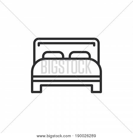 Double bed line icon outline vector sign linear style pictogram isolated on white. Symbol logo illustration. Editable stroke. Pixel perfect