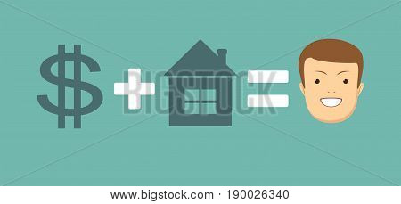 concept of money and home brings you happiness. Stock vector illustration for poster, greeting card, website, ad, business presentation, advertisement design.