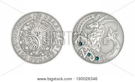 Silver coin 20 Belarus rubles Astrological sign Capricorn
