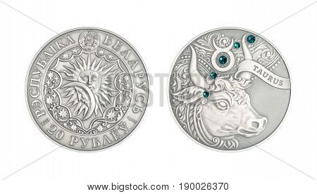 Silver coin 20 Belarus rubles Astrological sign Taurus