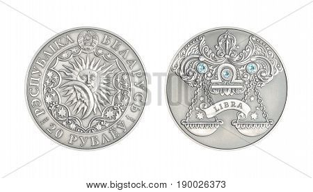 Silver coin 20 Belarus rubles Astrological sign Libra