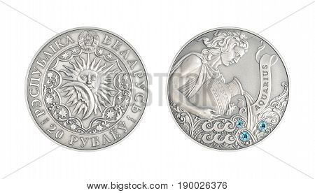 Silver coin 20 Belarus rubles Astrological sign Aquarius