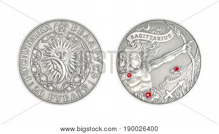 Silver coin 20 Belarus rubles Astrological sign Saggittarius