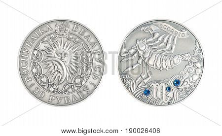 Silver coin 20 Belarus rubles Astrological sign Scorpio