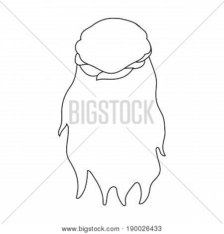 Dark, loose hair behind.Back hairstyle single icon in outline style vector symbol stock illustration .