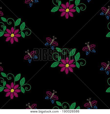 Seamless pattern with embroidery stitches imitation flower butterfly and green leaf. Floral embroidery pattern vector background for printing on fabric paper for scrapbook gift wrap.