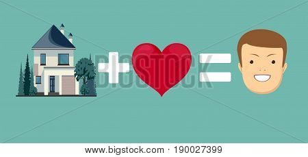 love and home brings you happiness. Stock vector illustration for poster, greeting card, website, ad, business presentation, advertisement design.