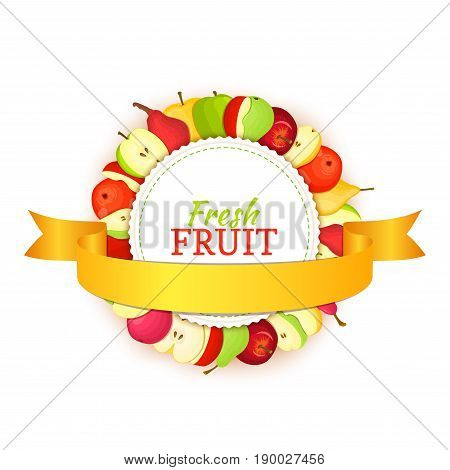 Round colored frame composed of delicious apple pear fruit and gold ribbon. Vector card illustration. Circle apples pears frame. Ripe fresh fruits for packaging design of juice, breakfast food.