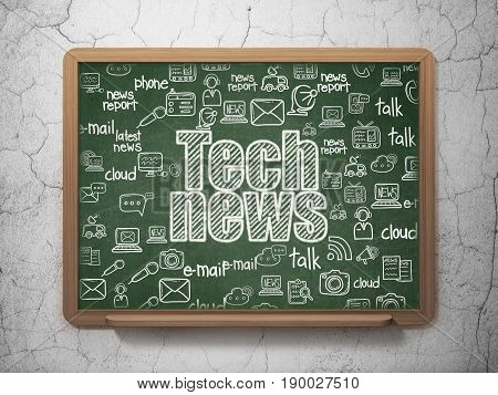 News concept: Chalk White text Tech News on School board background with  Hand Drawn News Icons, 3D Rendering