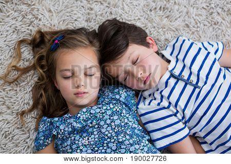 Siblings sleeping on rug in living room at home
