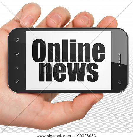 News concept: Hand Holding Smartphone with black text Online News on display, 3D rendering