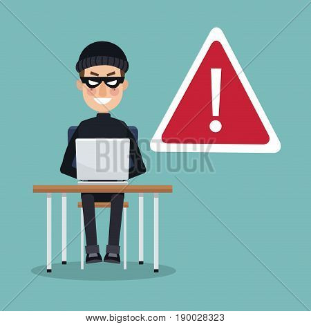 scene color thief man hacker in desk with laptop working in alert attack vector illustration