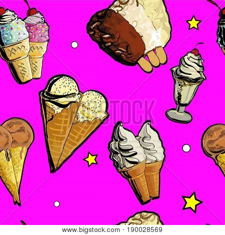 Vector illustration of Seamless pattern ice creame tasty. Hand drawn, doodle decorative sticks. Paper background for children festival.