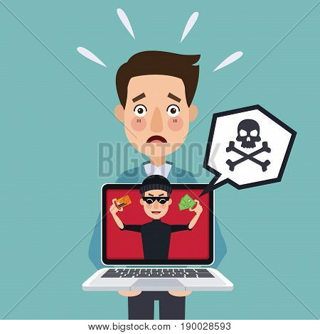 blue background programmer man with laptop and thief man hacker stealing against security vector illustration
