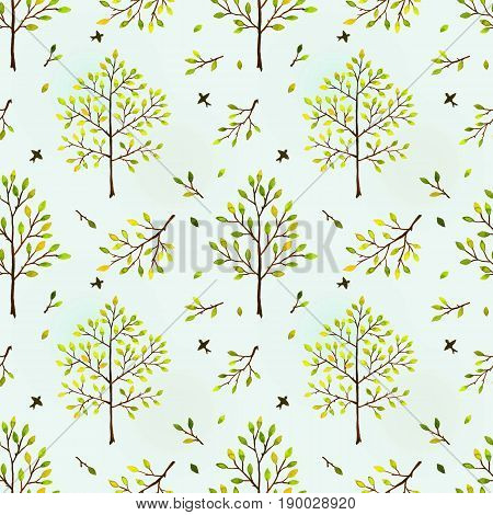 Seamless background with trees. the watercolor image
