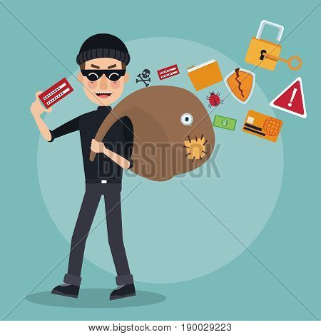 scene color thief man hacker with stealing information bag vector illustration