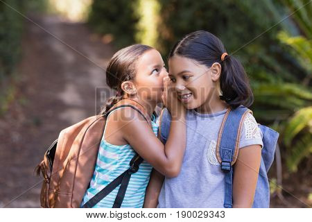 Little girl whispering to friend while standing at natural parkland