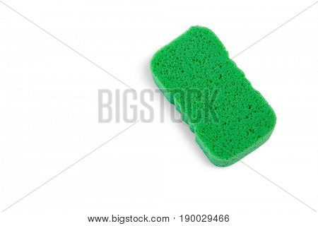 High angle view of green sponge against white background