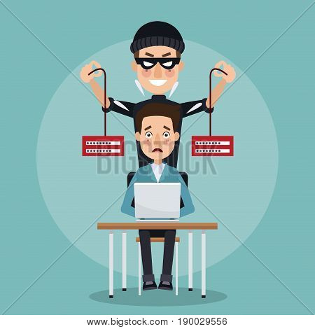 scene color programmer man in desk with laptop and thief man hacker stealing information with pair of servers vector illustration