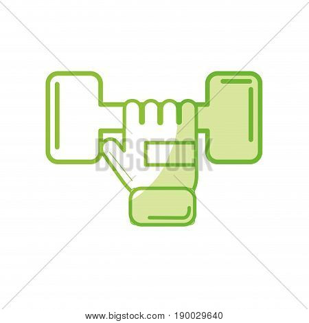 silhouette dumbel with glove to do exercise vector illustration