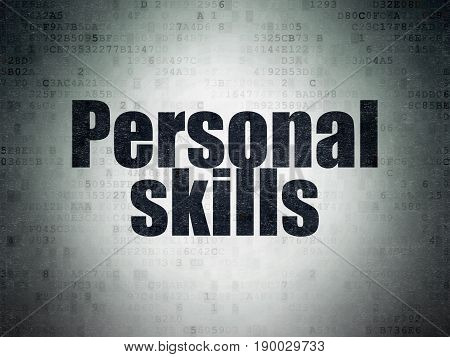 Education concept: Painted black word Personal Skills on Digital Data Paper background
