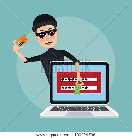 scene color laptop with password window and thief man hacker stealing investment data vector illustration
