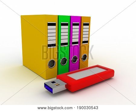 office ring binders with usb flash drive. saving data concept 3d  rendered illustration