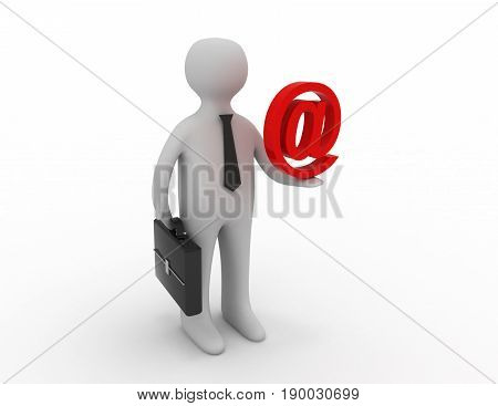 3d people - man person holding email symbol  . 3D rendered illustration