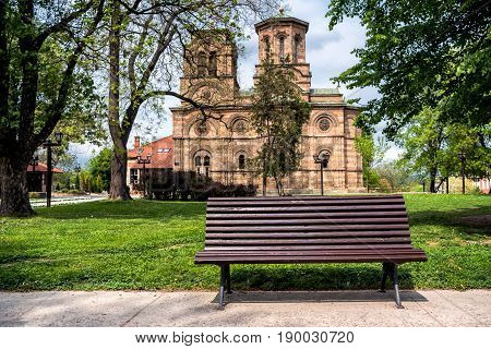 Bench in front of 14th century Orthodox Lazarica Church in Krusevac, Serbia