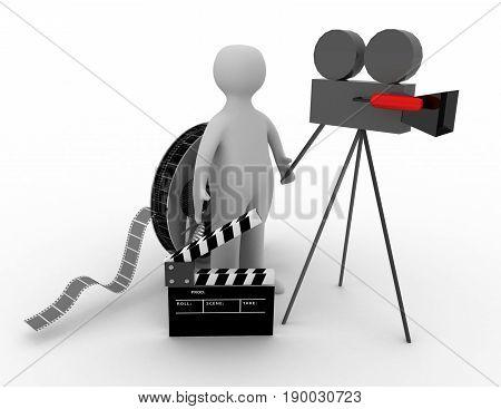 3d. cinema concept on white background  . rendered illustration