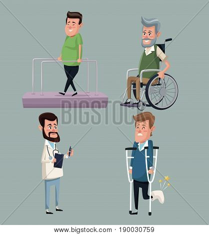 color background set doctor specialist with people in rehabilitation vector illustration