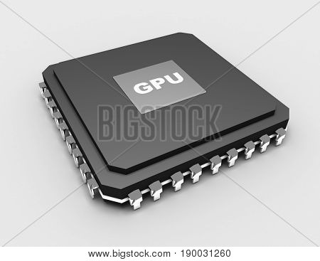 3D detailed blank microchip on white background . rendered illustration