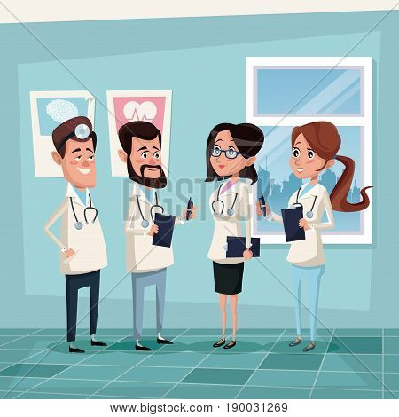 color background hospital room with hospital medical staff team doctors vector illustration